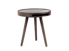 Tavolino di servizio rotondo in legno e vetro MALIN   Tavolino in legno e vetro - Malin