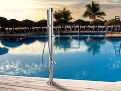 Ama Luxury Shower, MARTE Lavapiedi esterno per piscine in acciaio inox