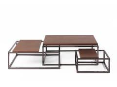 Tavolino basso in acciaio cromato e cuoioMATRIX | Tavolino basso - JUMBO GROUP