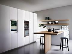 Cucina componibile in vetro acidato e rovere con isola MAXIMA 2.2 - COMPOSIZIONE 5 - Maxima 2.2