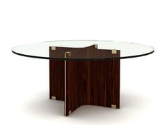 Tavolo da salotto rotondo in legno e vetro MAXIME | Tavolo rotondo - Maxime