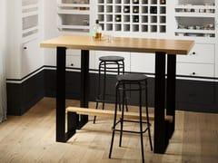 Tavolo alto in acciaio e legnoMAYET BAR - ALEX DE ROUVRAY DESIGN