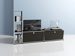 Mobile TV in metallo con ante a ribalta con libreriaMEDIA 07 - USM