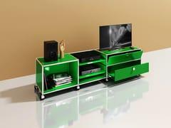 Mobile TV basso in metallo con cassetti con ruoteMEDIA 08 - USM