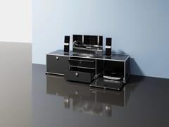 Mobile TV basso in metallo con ante a ribalta con cassettiMEDIA 10 - USM