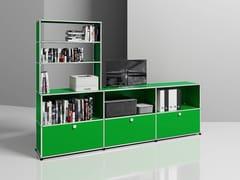 Mobile TV in metallo con libreriaMEDIA 11 - USM