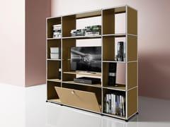 Mobile TV in metallo con libreriaMEDIA 14 - USM