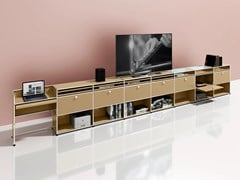 Mobile TV in metallo con ante a ribalta con libreriaMEDIA 16 - USM