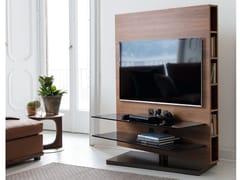 Mobile TV orientabile in noce con libreriaMEDIA CENTRE | Mobile TV - PORADA