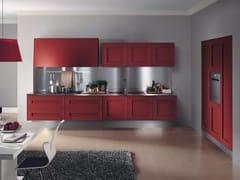 Cucina lineare sospesa in legno impiallacciato senza maniglieMELOGRANO M.SEI - COMPOSIT