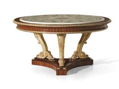 Tavolo rotondo in palissandro con piano in marmo MG 1023 - Galleria