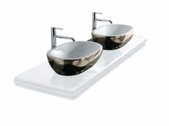 Piano lavabo doppio in vetro MIDAS | Piano lavabo doppio - Midas