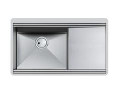 Lavello a una vasca sottotop in acciaio inox con gocciolatoioMILANELLO 1VDX / 1VSX +G S/TOP - FOSTER