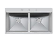 Lavello a 2 vasche filo top in acciaio inoxMILANO 2V 462X400 FT C/BANC - FOSTER
