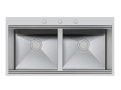 Lavello a 2 vasche da incasso in acciaio inoxMILANO 2V 462X400 Q4 C/BANC - FOSTER