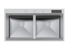 Lavello a 2 vasche da incasso in acciaio inoxMILANO 2V 46X40 Q4 C/Prtclt - FOSTER