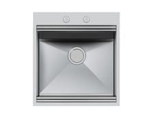 Lavello a una vasca filo top in acciaio inoxMILANO 462x400 FT - FOSTER