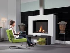 Element4, MODORE Caminetto a gas in acciaio a parete con vetro panoramico