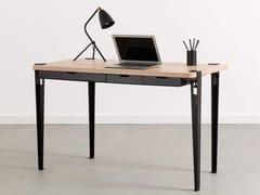 Scrivania rettangolare in acciaio e legno con cassettiMONOCHROME - TIPTOE