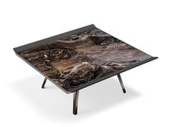 Tavolino quadrato in metallo e pelle da salottoMOON INVADERS | Tavolino quadrato - ARKETIPO