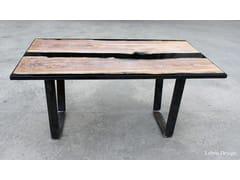 Tavolino quadrato in Briccola Veneziana e resinaBLACK - ANTICO TRENTINO DI LUCIO SEPPI
