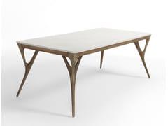 Tavolo rettangolare con piano in marmo e gambe in noceNADIA - AGRIPPA COLLECTION