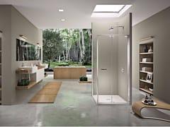 Box doccia angolare con porta girevole NATURA 4000 - AR-DTW L/R - Quadra – con profili verticali e orizzontali