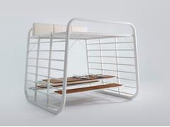 Umbrosa, NAUTA PIC NIC Tavolo da picnic rettangolare in alluminio e legno con panchine integrate