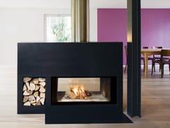 RÜEGG, NEPTUN Caminetto a doppia facciata a legna in acciaio con vetro panoramico