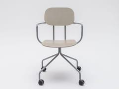 Sedia su trespolo in compensato con ruote NEW SCHOOL | Sedia con ruote - New School