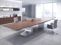 Tavolo da riunione rettangolare in legno massello con sistema passacavi NIEMEYER | Tavolo da riunione in legno - Niemeyer