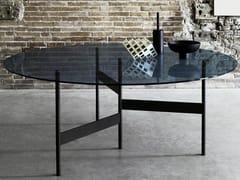 Tavolo rotondo in acciaio e vetro NOTES | Tavolo rotondo -