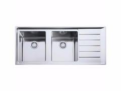 Lavello a 2 vasche in acciaio inox con sgocciolatoio NPX 621 - Neptune Plus
