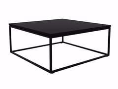 Tavolino laccato quadrato in acciaio inox e legno OAK THIN | Tavolino quadrato - Oak Thin