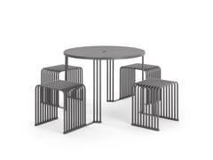 Tavolo per spazi pubblici in metallo con sedie integrateOCTOPUS | Tavolo da picnic - URBANTIME