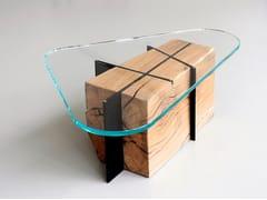 Tavolino basso con base in rovere e piano in vetroOM6.0   Tavolino - MJIILA