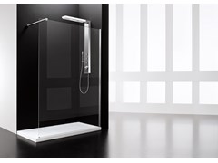 Colonna doccia a parete in acciaio inox con doccettaONDA - ARBLU