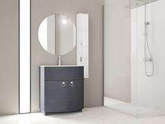 Mobile lavabo da terra singolo in rovere con anteONDA ON03 - ARTEBA