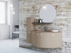 Mobile lavabo sospeso in legno con anteONDA ON08 - ARTEBA