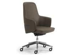 Poltrona ufficio direzionale ad altezza regolabile in pelle con braccioliOPERA | Poltrona ufficio direzionale con schienale medio - LEYFORM