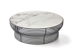 Tavolino rotondo in acciaio e vetroORION - BONALDO