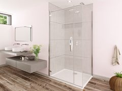Flair Showers, ORO ULTRAFRAMELESS - HINGE DOOR Porta a battente per doccia con lato fisso