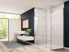 Flair Showers, ORO ULTRAFRAMELESS - DOOR + INLINE PANEL Porta a battente per doccia con pannello in linea ed angolo