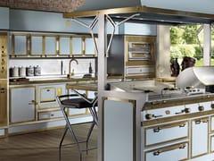 Cucina professionale su misura in acciaio con isolaPACIFIC LIGHT BLUE & BURNISHED BRASS - OFFICINE GULLO