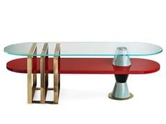 Tavolino basso laccato in legnoPALM | Tavolino ovale - MARIONI