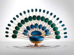 Poltrona imbottita in ottone con schienale altoPAVONE | Poltrona con schienale alto - VISIONNAIRE BY IPE