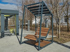 Seduta sospesa a 3 posti in acciaio e legnoLIMA - SUN LOUNGER - PUNTO DESIGN