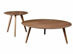 Tavolino rotondo in legno impiallacciato per contract PIA | Tavolino di servizio - Pia