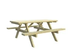 Tavolo da picnic rettangolare in pino con panchine integratePICNIC - LAZZARI SRL