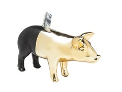 Salvadanaio in ceramica PIG GOLD-BLACK -